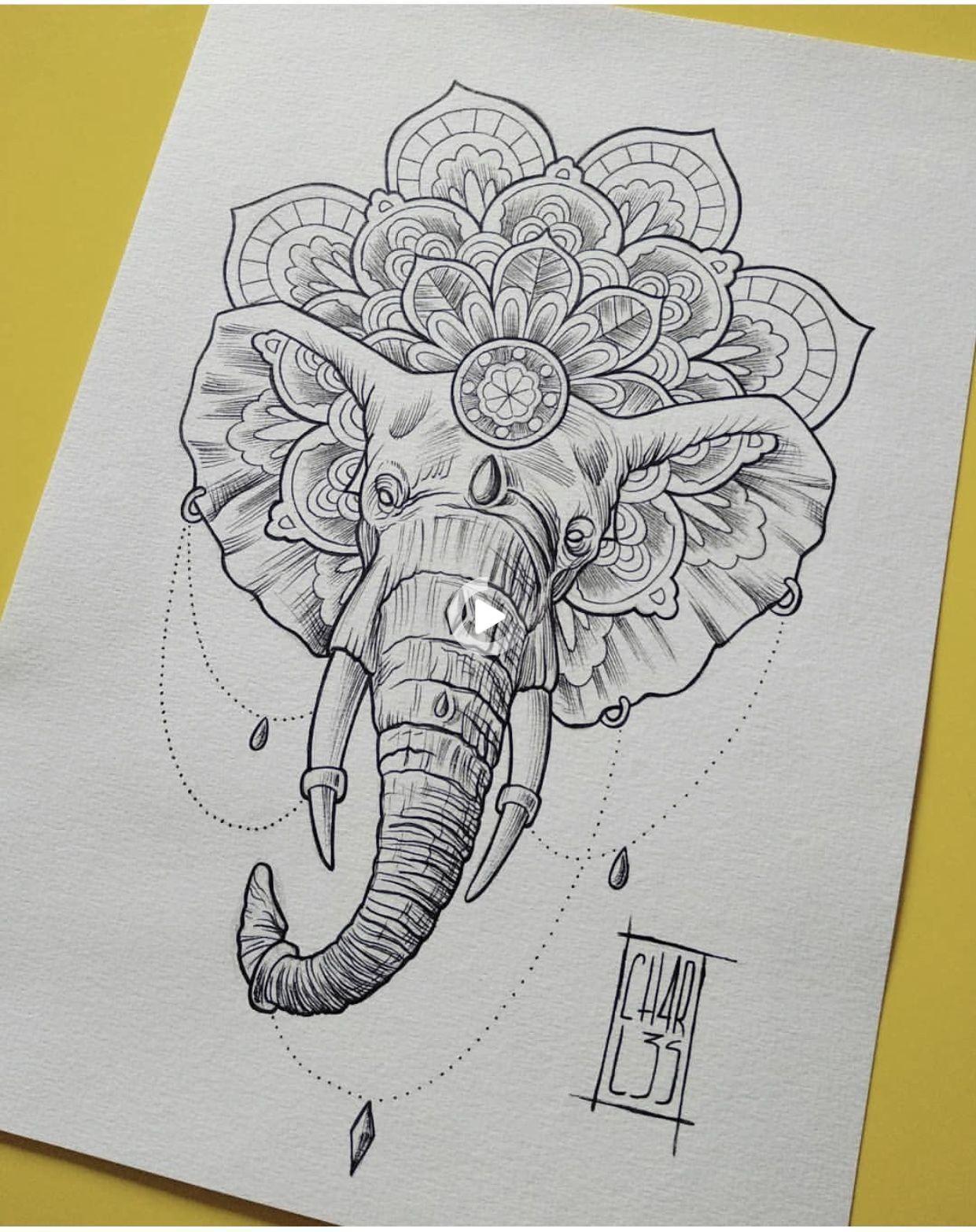 Elephant mandala tattoo   Geometrische elefant tattoo, Mandala ...