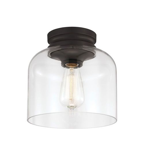 Feiss Hounslow Oil Rubbed Bronze OneLight Flush Mount with Clear