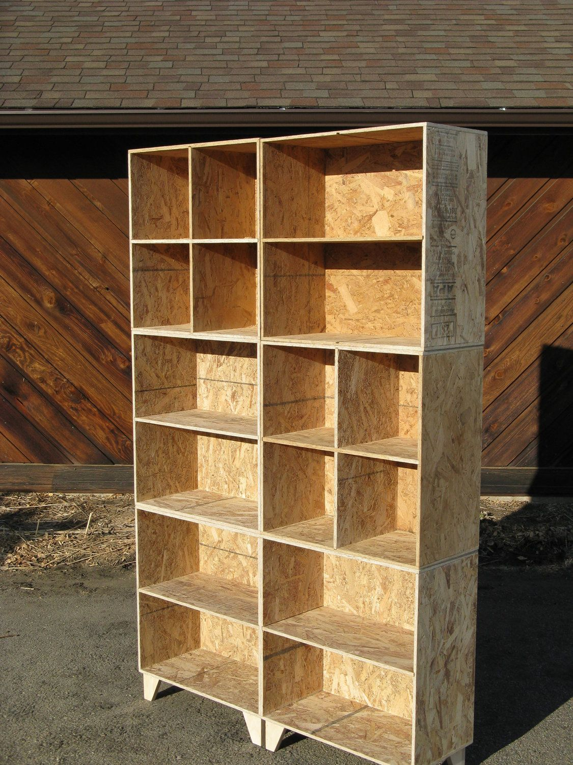 mix and match osb bookcase and cubby 2 wide and 3 tall unfinished via etsy woodworking. Black Bedroom Furniture Sets. Home Design Ideas