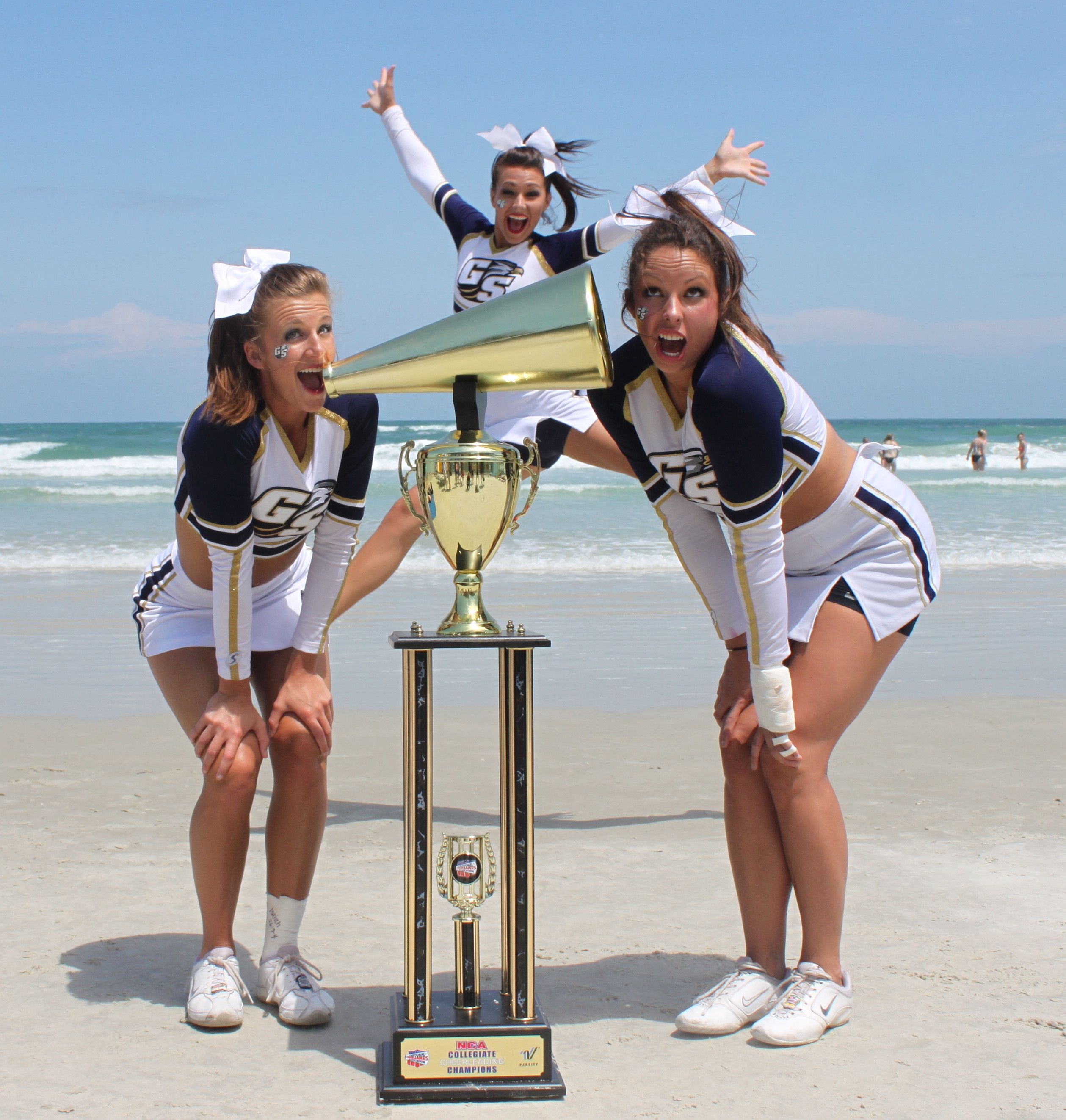 After Winning The Nca National Championship 2012 Kayla Kristen And Rachel Georgia Southern Southern Girl Style Georgia Southern Georgia Southern University