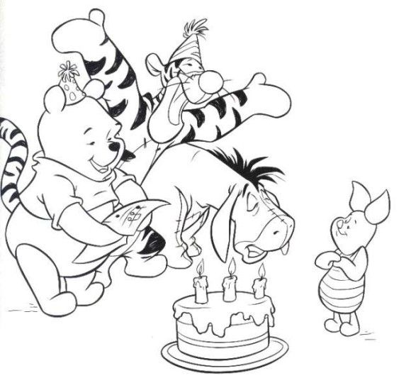 winnie the pooh happy birthday coloring pages disney - Pooh Bear Coloring Pages Birthday
