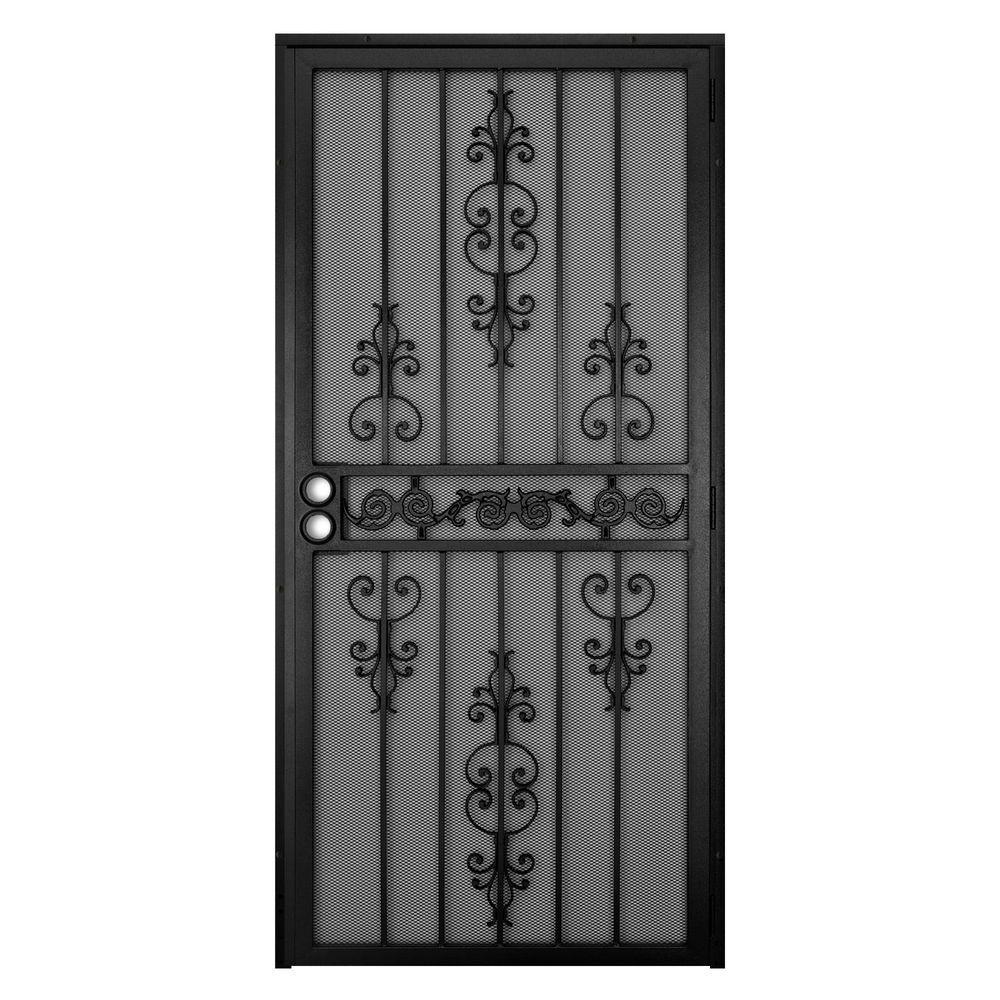 Unique Home Designs 36 In X 80 In El Dorado Black Surface Mount Outswing Steel Security Door With Heavy Duty Expanded Metal Screen 5hs620black36 Metal Screen Doors Security Screen Door Metal Screen