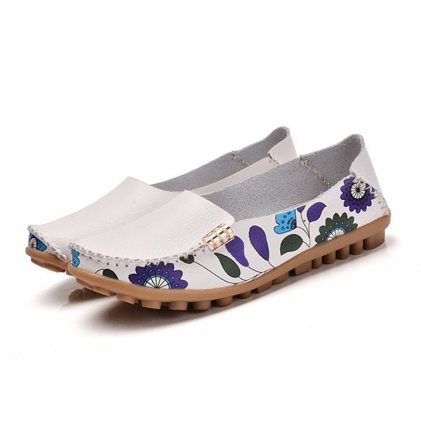 f8be03b80fe SOCOFY US Size 5-10 Women Flat Flower Casual Outdoor Soft Slip On Leather Loafer  Shoes - Banggood Mobile