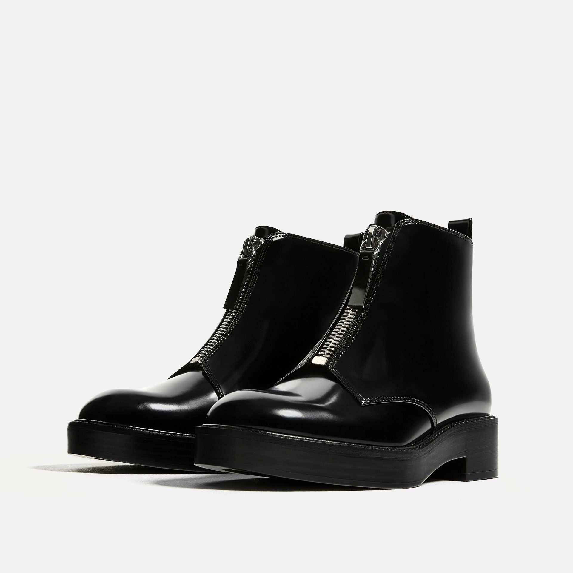 flat ankle boots with zip from zara footwear pinterest bottines. Black Bedroom Furniture Sets. Home Design Ideas