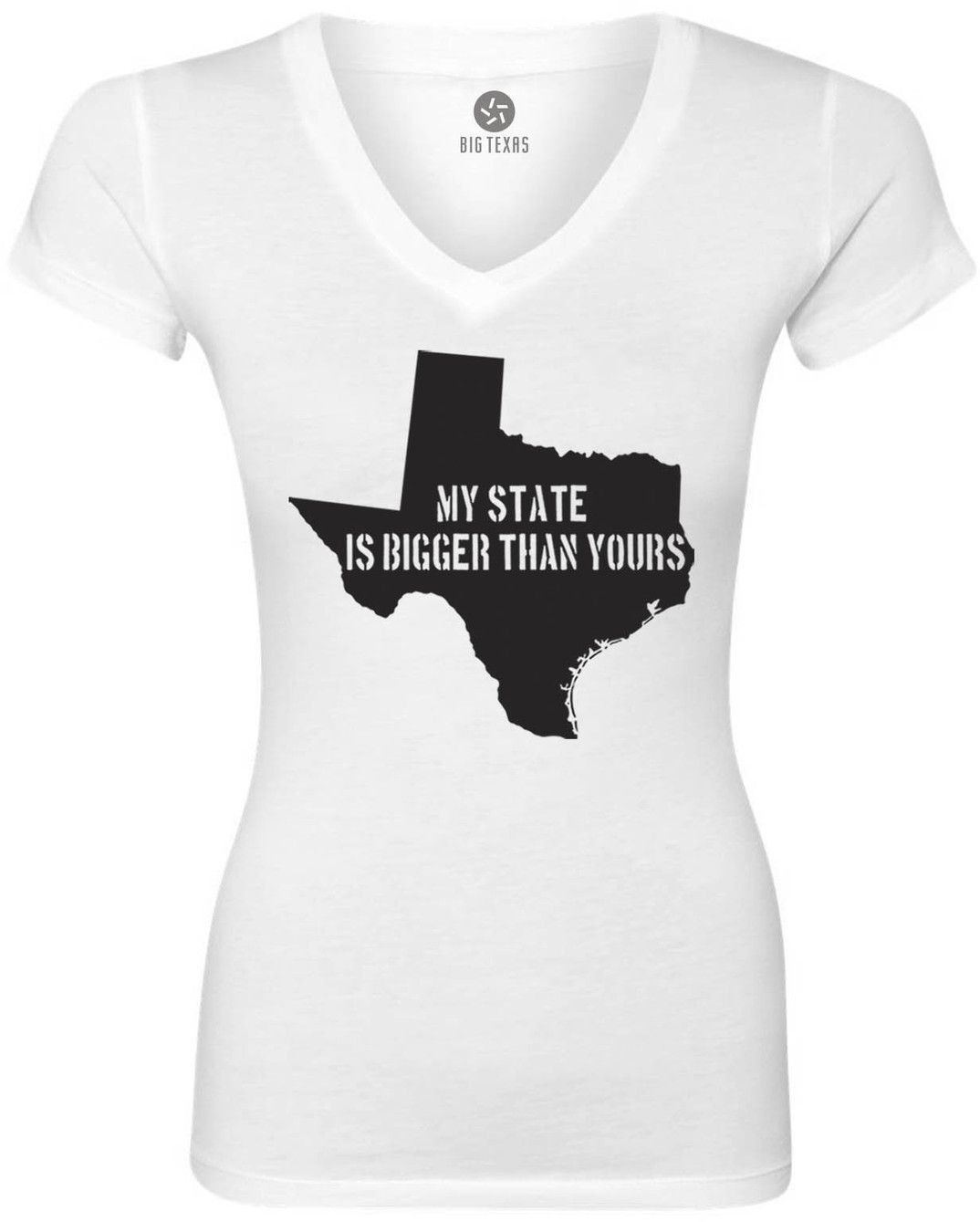 My State is Bigger Than Yours Women's Short-Sleeve V-Neck T-Shirt