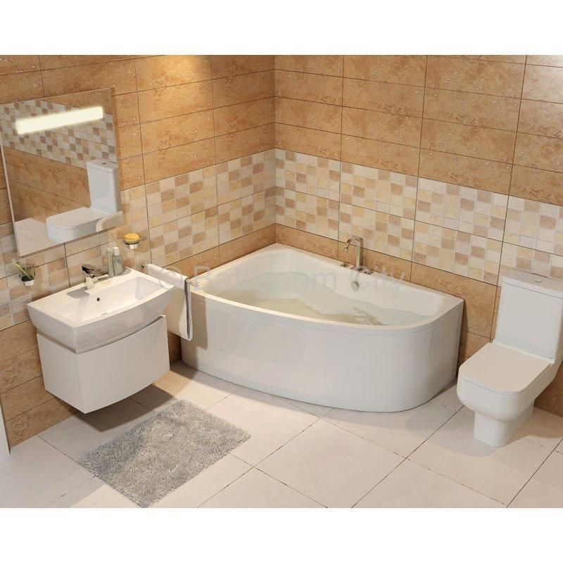 Clia Left Hand Offset Corner Bath with Front Curved Bath Panel - 23 ...