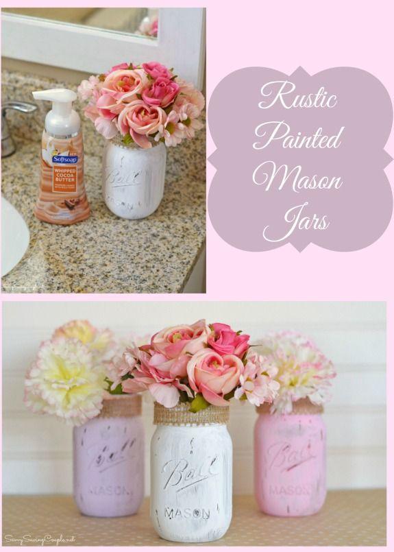 DIY Bathroom Decor Rustic Painted Mason Jars Some Premium Hand Soaps