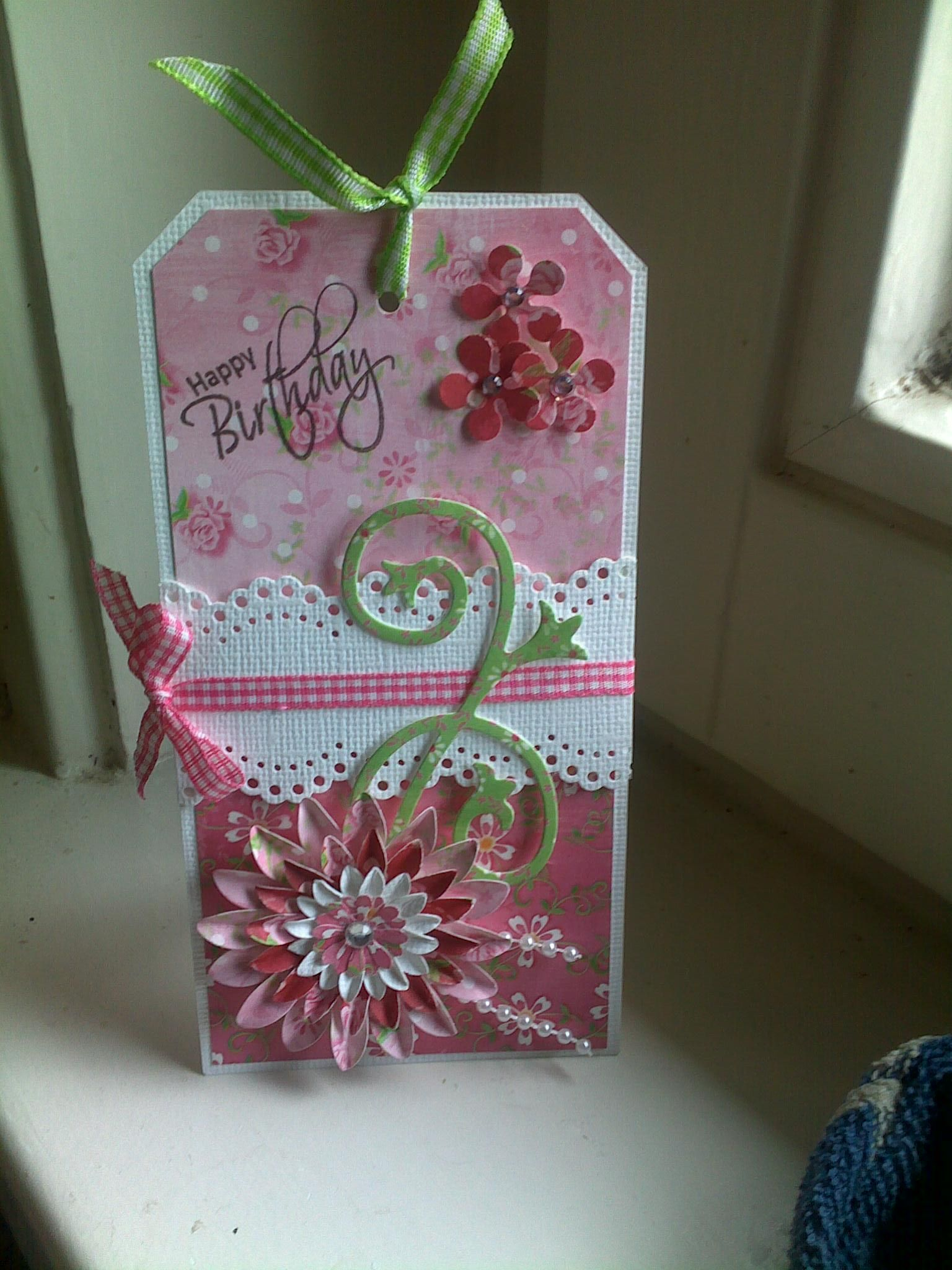 Pink & green b-day tag