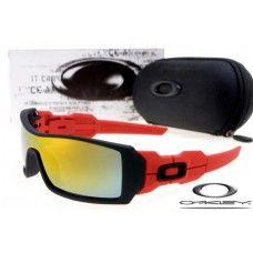 Oakley Oil Rig Sunglasses Black Red Frame / Fire Lens