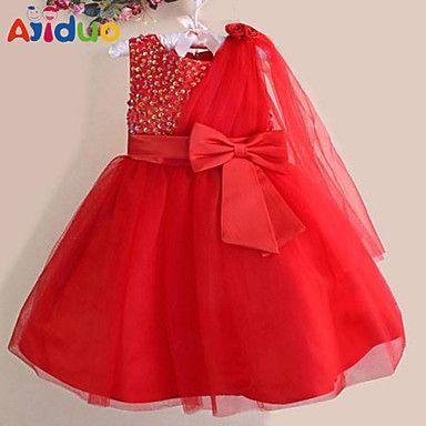 Kids Girls' Sequins Bowknot Gauze One-shoulder Sleeveless Pageant Tutu Dress – USD $ 19.69