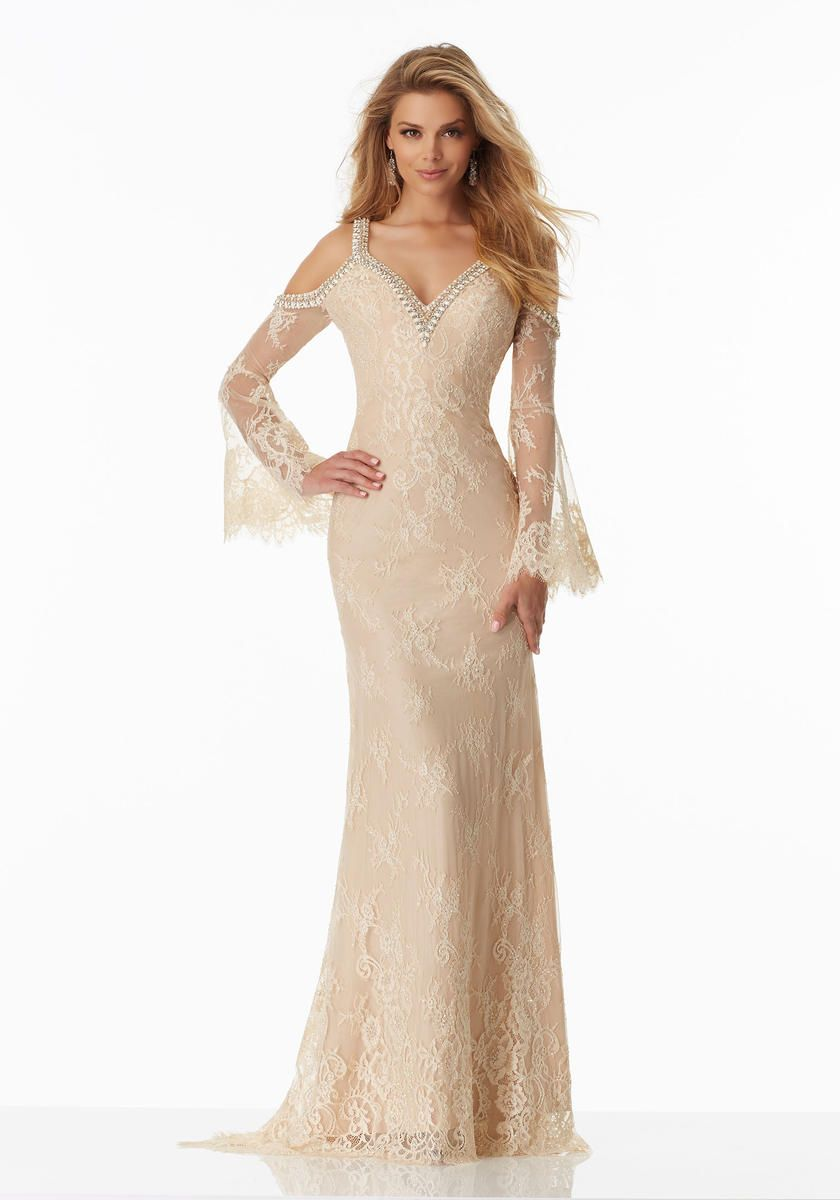 size 10 nude morilee prom 99022 is a boho chic prom dress