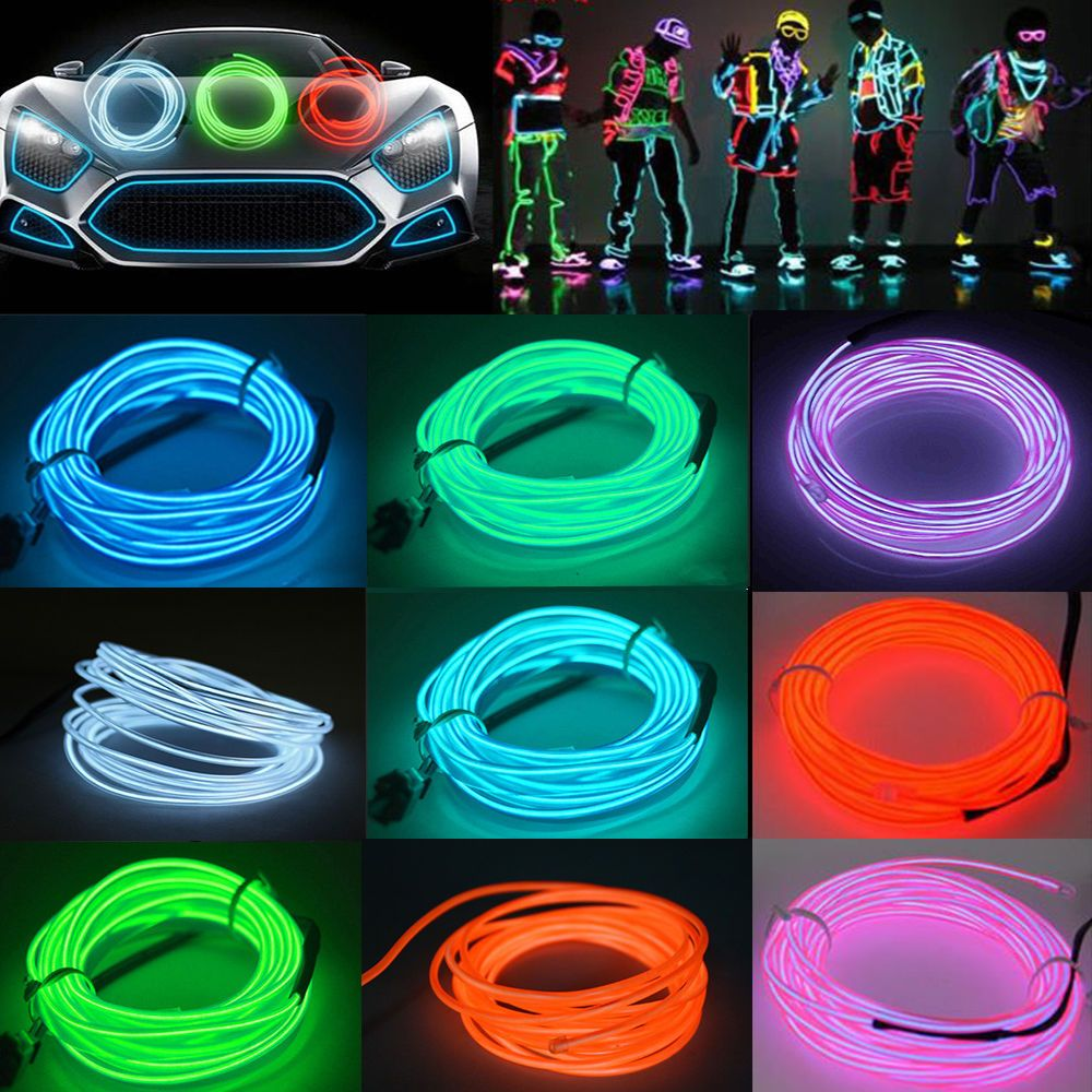 1/2/3/4/5M Led Flexible EL Wire Neon Glow Light + 3V/12V Controller ...