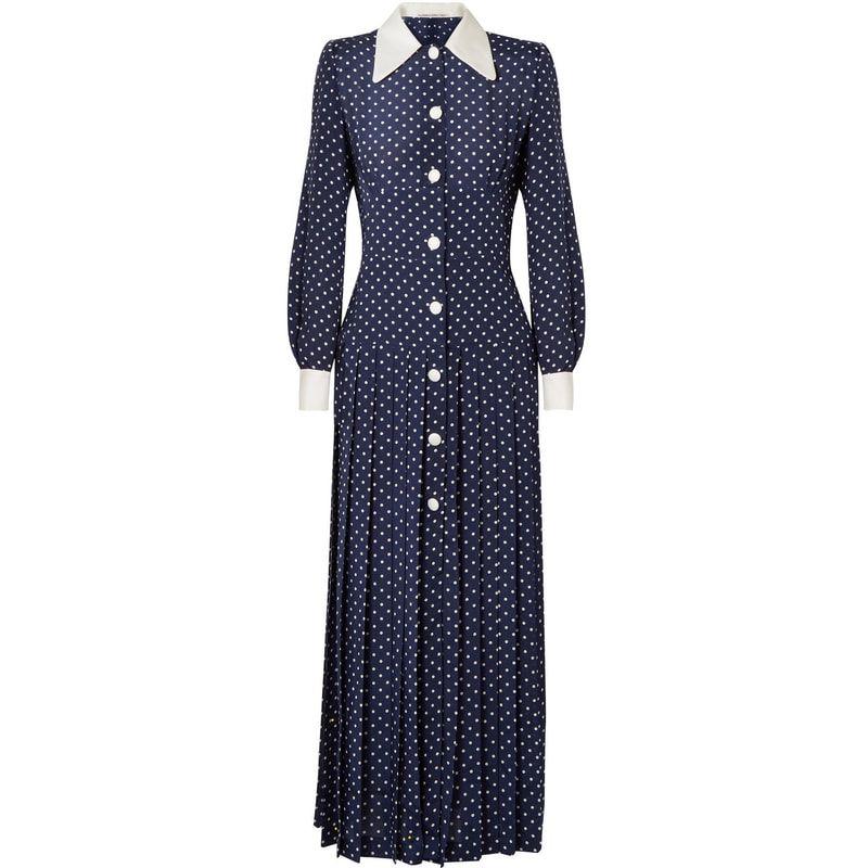 Alessandra Rich Navy Pleated Polka Dot Midi Dress Kate Middleton Kleid Kleider Modestil