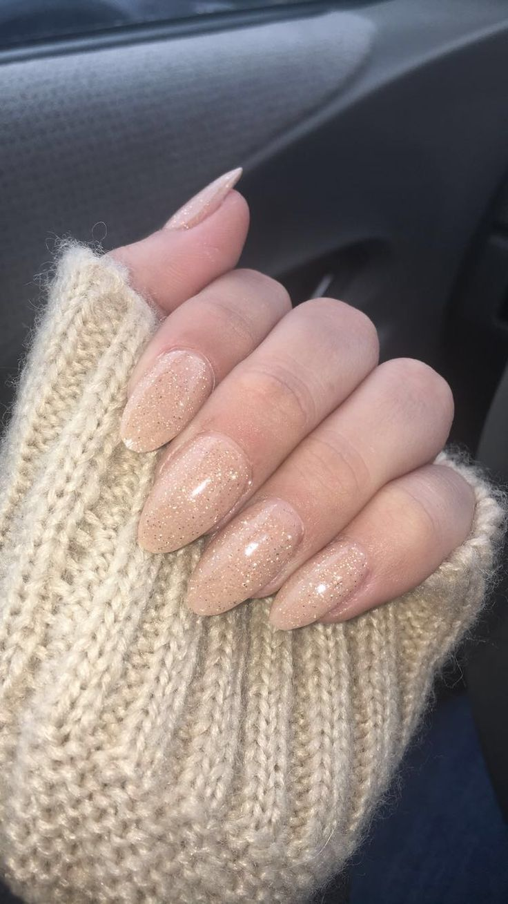 Nails, nude, gold nails, next gen nails, sparkly nails, almond ...