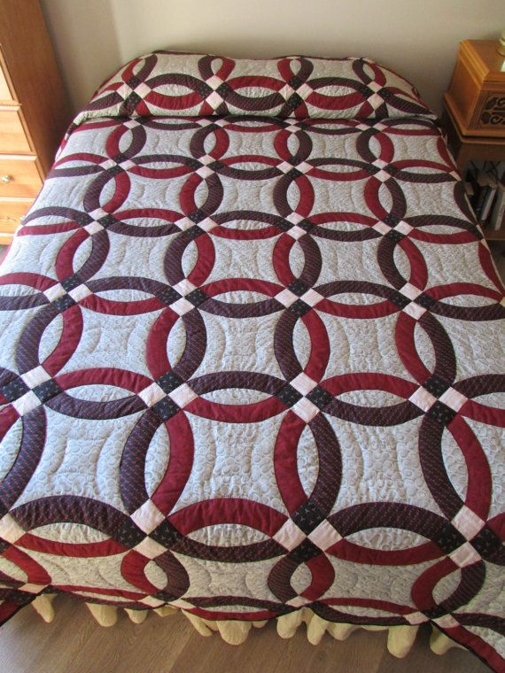 Wedding Ring Quilt Amish Quilt Queen Size Quilt Double