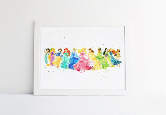 Disney Princess collection disney watercolor Nursery by ArtQuality