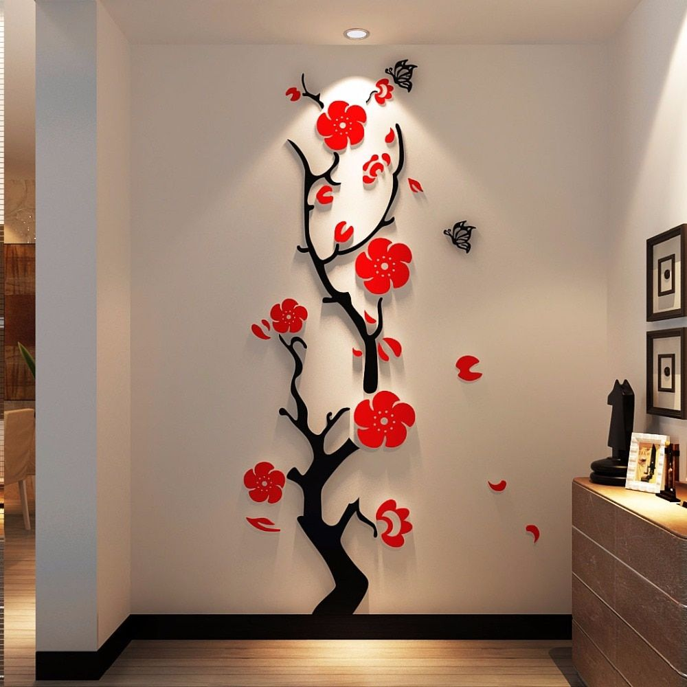 Plum Flower 3d Three Dimensional Crystal Acrylic Wall Stickers