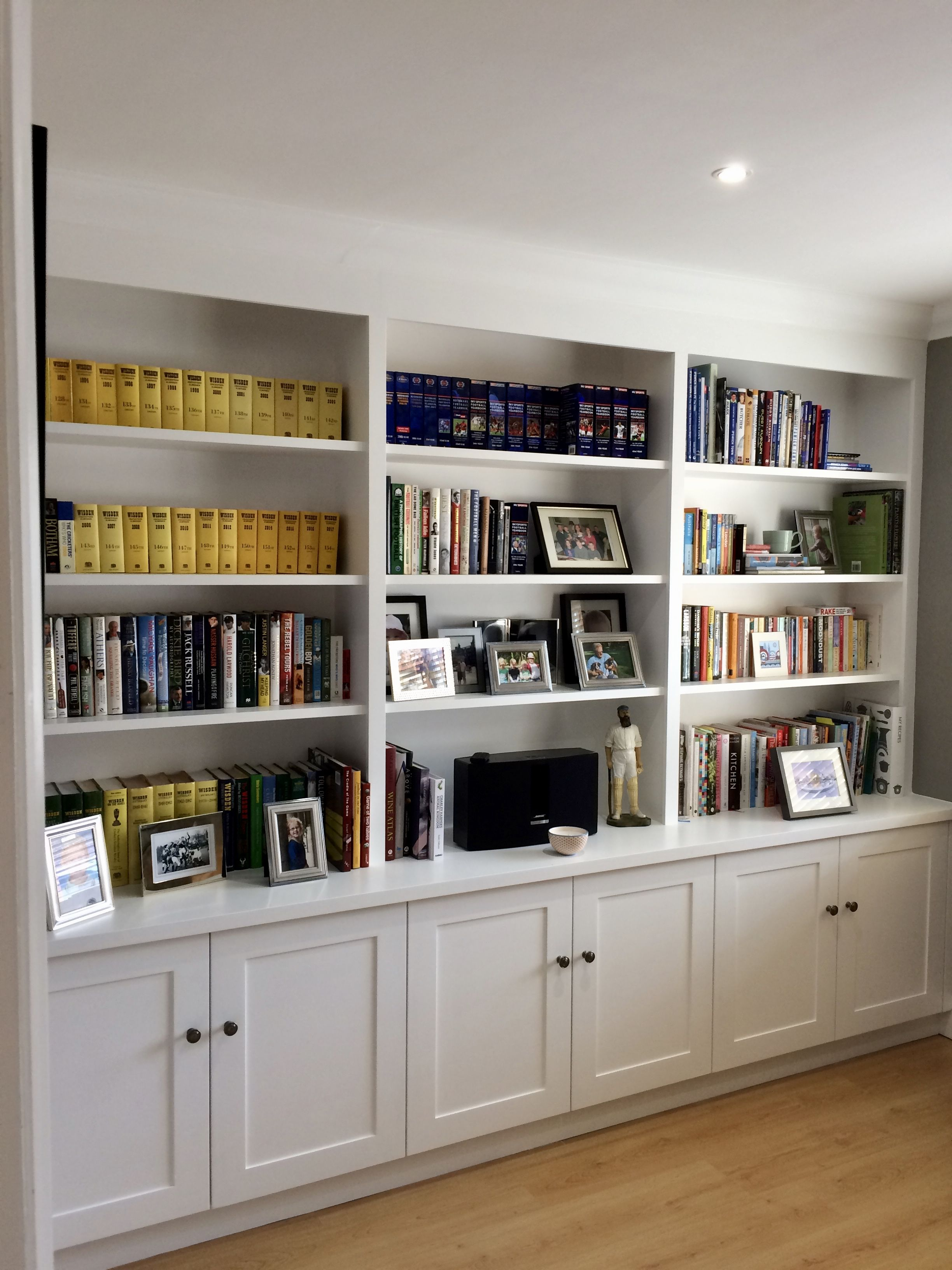 Wall To Wall Shelving With Cupboard Storage To Base Useful Shelving For Books Photos A Home Office Shelves Built In Shelves Living Room Living Room Bookcase