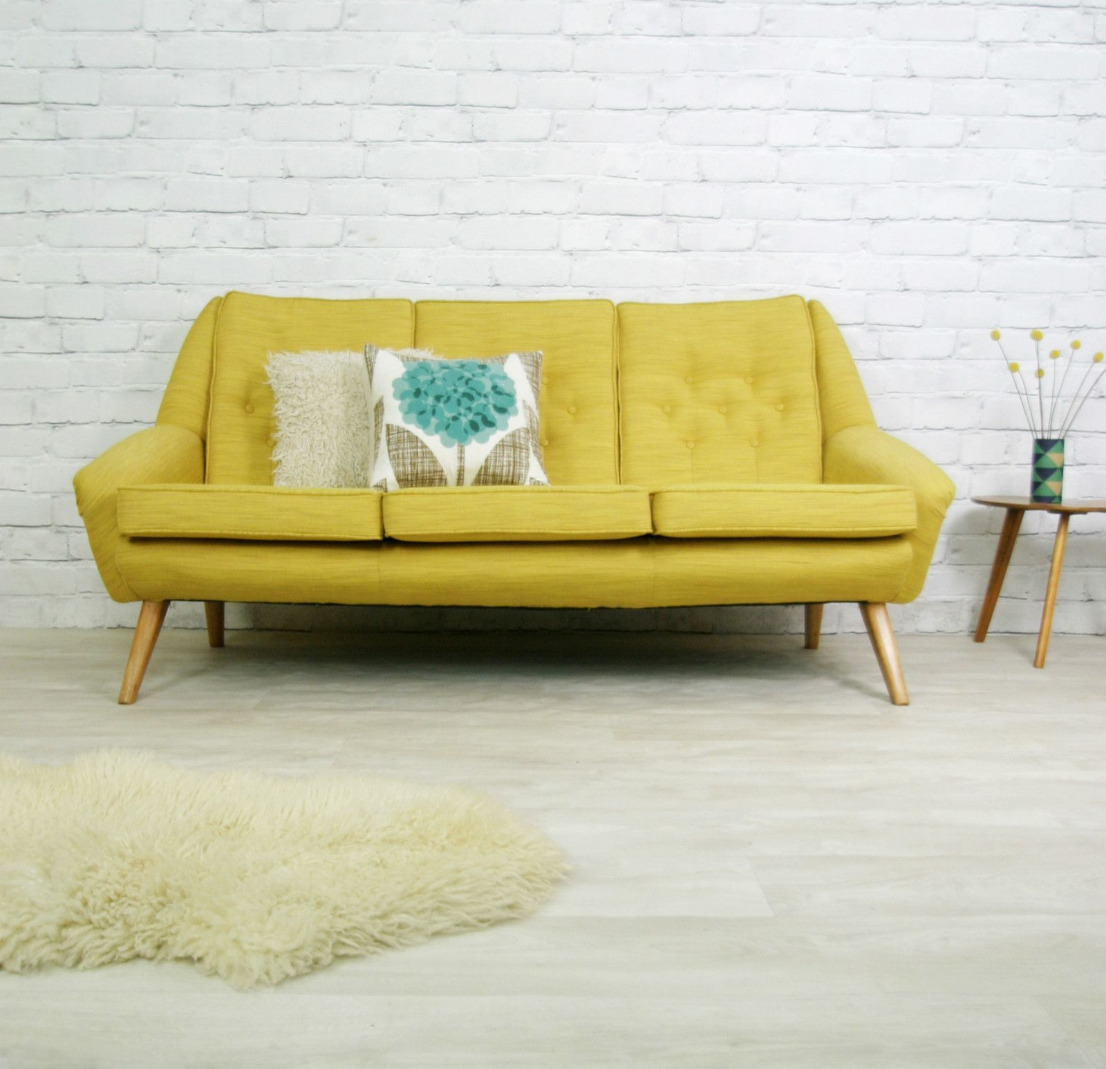 Vintage retro mid century mustard danish style sofa settee for Furniture 60s style