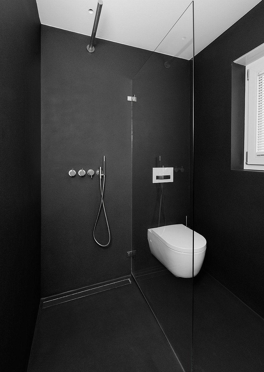 Dusche Und Wc Fugenlos Ausgefuhrt Mit Ganzglasscheibe Getrennt Dusche Wc Mit Dusche Schwarz Dusche