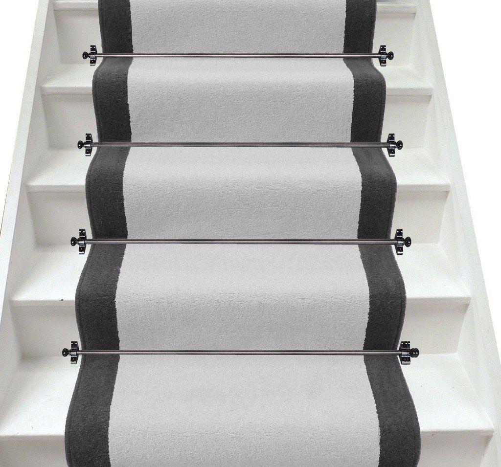 Plain Light Grey And Dark Grey Stair Runner Designed With Axminster Carpet.  Bespoke, British