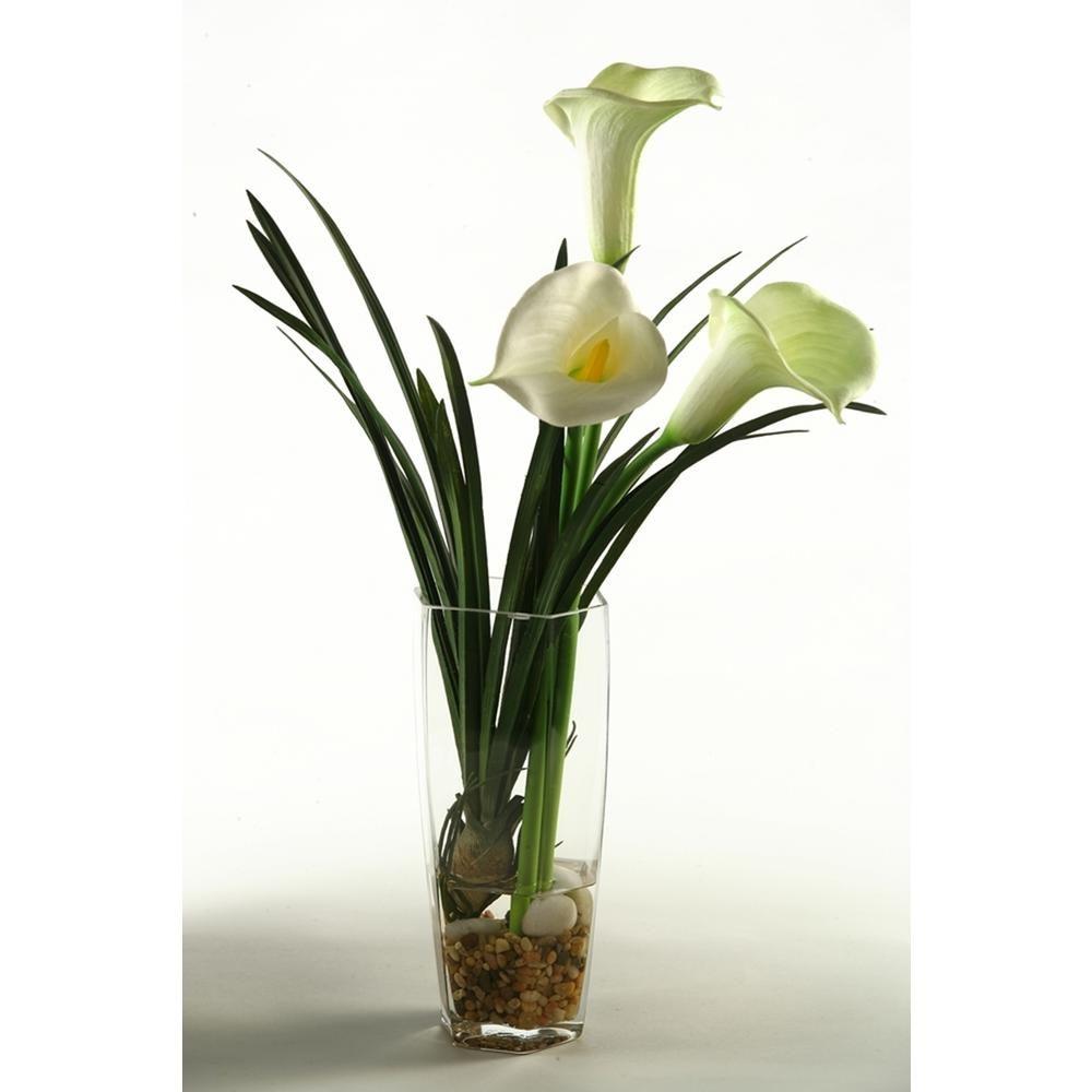 D W Silks Indoor Calla Lilies In Glass Vase 149083 Faux Flowers