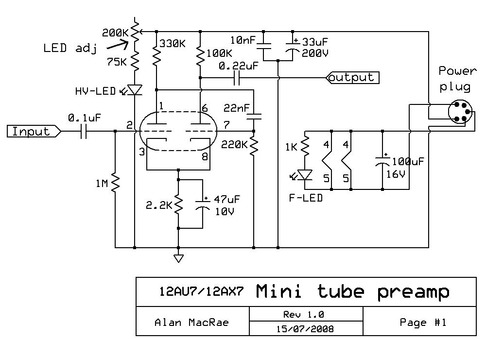 12ax7 12au7 Tube Preamplifier Schematic In