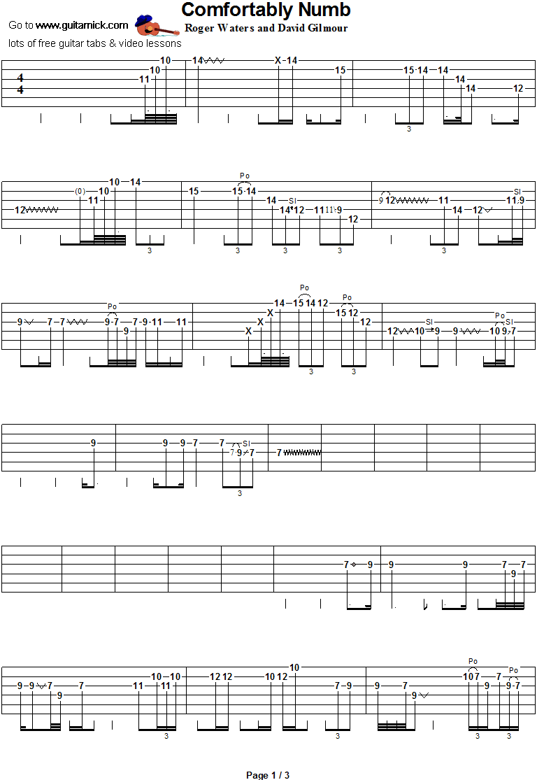Comfortably Numb Guitar Solo Tab 1 Music Theory Guitar Guitar Tabs Comfortably Numb
