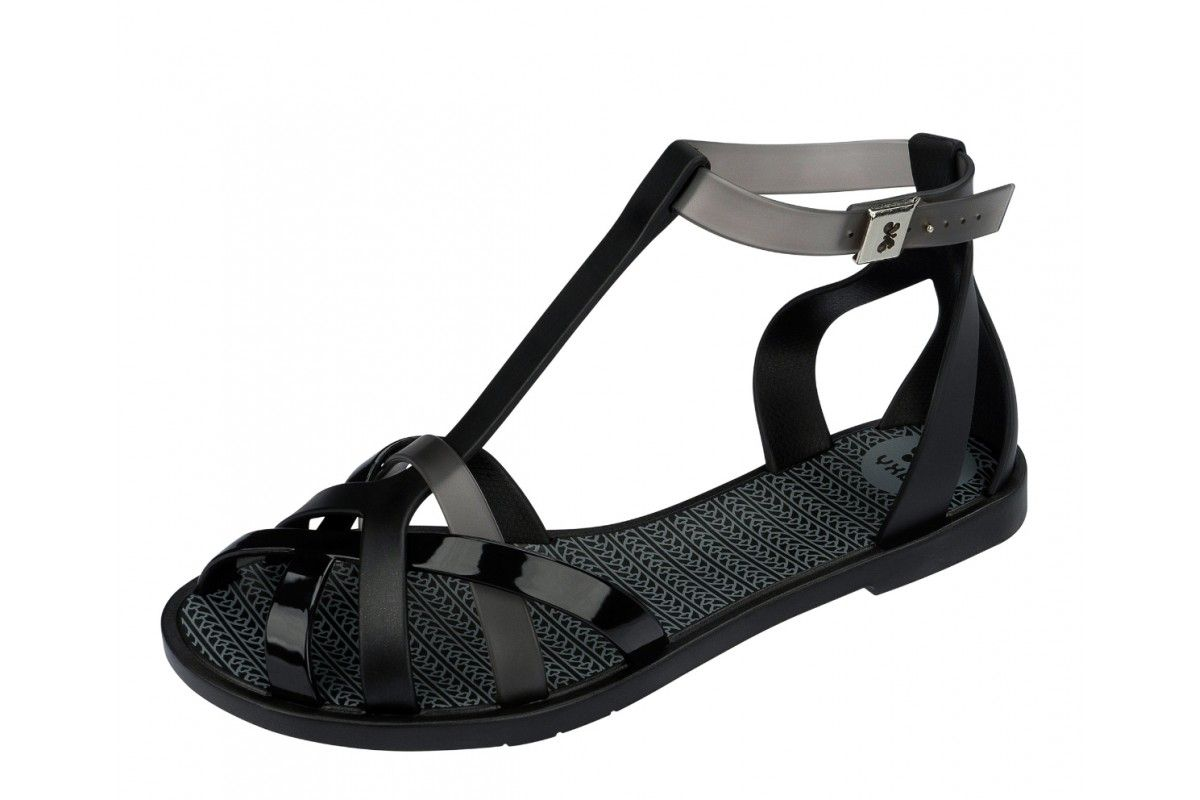 836cc121213 Zaxy Frozen Black Ankle Strap T Bar Flat Jelly Sandals