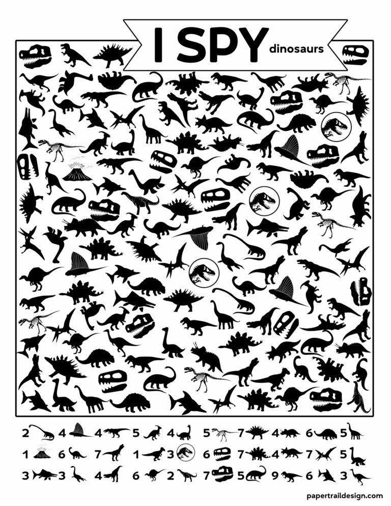 Free Printable I Spy Dinosaurs Activity Paper Trail