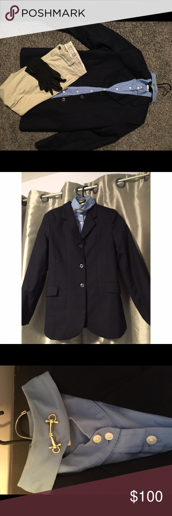 Navy/light blue Hunter Jumper Show Uniform🐎🐎🐎 Know any riders looking for some show gear??✨ Annie Rider Navy Show Coat (size 12 LONG), Devon-Aire Light Blue button up t-shirt (size M), Devon-Aire beige riding breeches (size XL), and black show gloves (size S-M)🐎 Worn for ONE show. MINOR stains on button up and jacket. Comes with coat protector (pictured). Price is $80 for everything pictured!Will sell items separately if interested!!🐎🐎🐎 Annie Rider Jackets & Coats