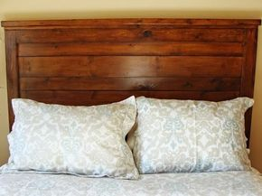 How to Build a Rustic Wood Headboard is part of Home Accents DIY Headboards - Add style, color and texture to your bedroom with this doityourself headboard that looks anything but DIY  A great project for newbie woodworkers, this headboard can be completed for less than $100