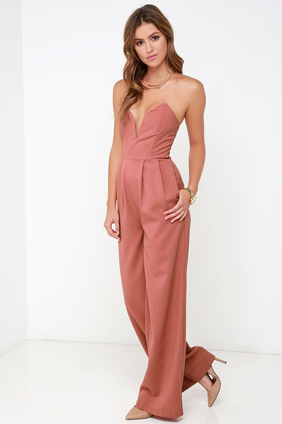 5183e6df97c6 Leisure Suit Dusty Rose Strapless Jumpsuit at Lulus.com!