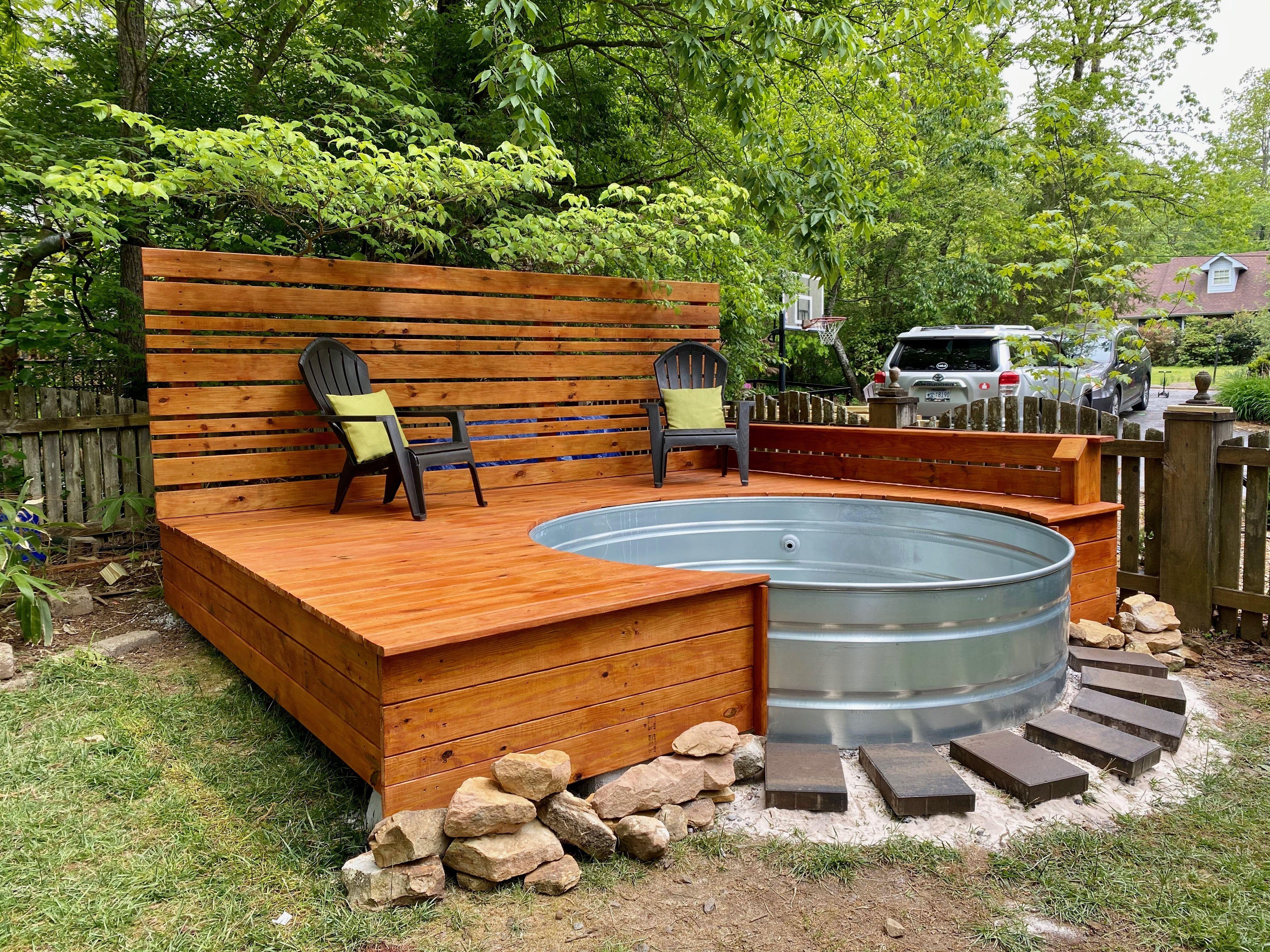 Stock Tank Pool W Custom Deck In 2021 Backyard Pool Stock Tank Pool Stock Tank Pool Diy