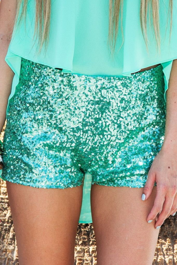 Sparkly shorts + Chiffon top. EEK!