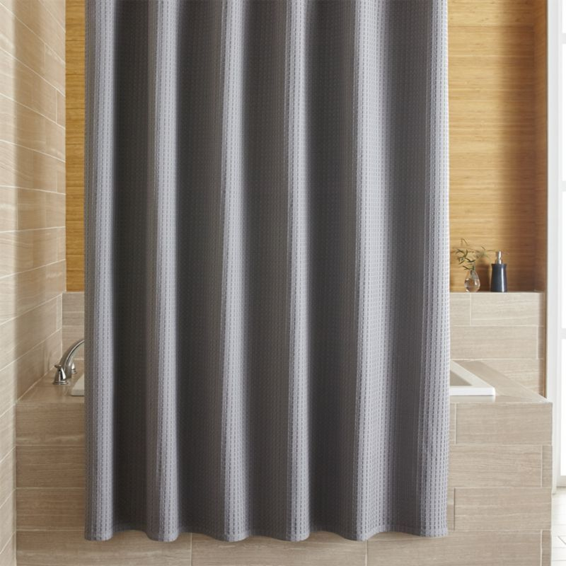 Shop Willow Grey Shower Curtain Our Waffle Weave Shower Curtain In