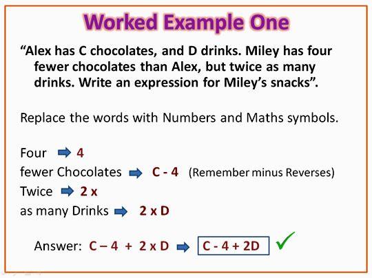 Algebra Expressions Algebraic Expressions Word Problems Algebra
