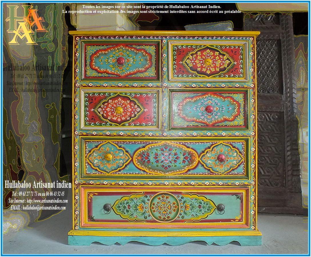 commode indienne peinte jn9 cav35 d co meubles pinterest commodes indiens et peindre. Black Bedroom Furniture Sets. Home Design Ideas