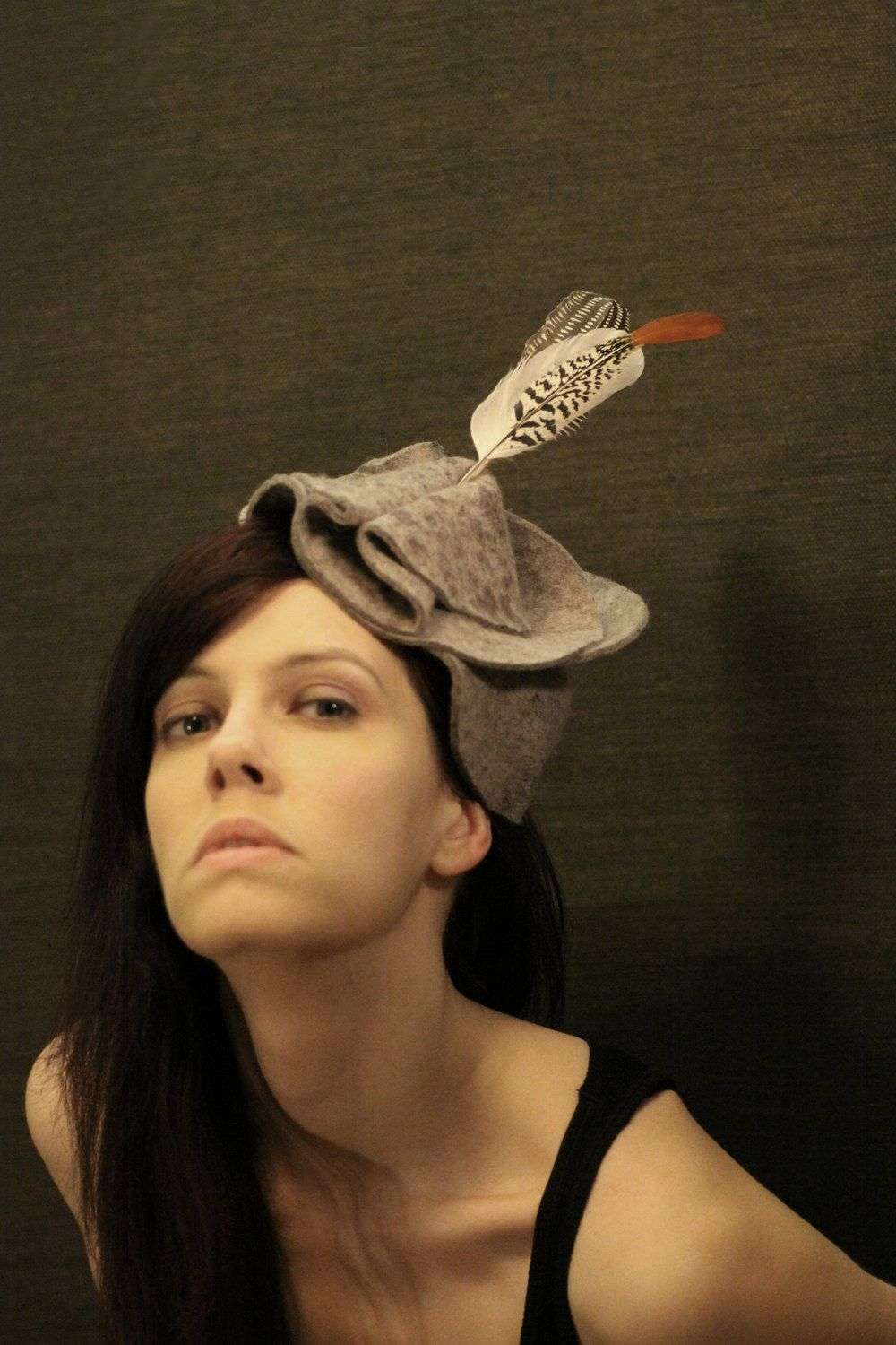 Grey Felt Abstract Hat/Fascinator with Feathers. via pookaqueen on Etsy.