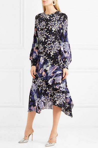 How Much Sale Online Wide Range Of Online Asymmetric Printed Silk Midi Dress - Navy Peter Pilotto XAVOTiO