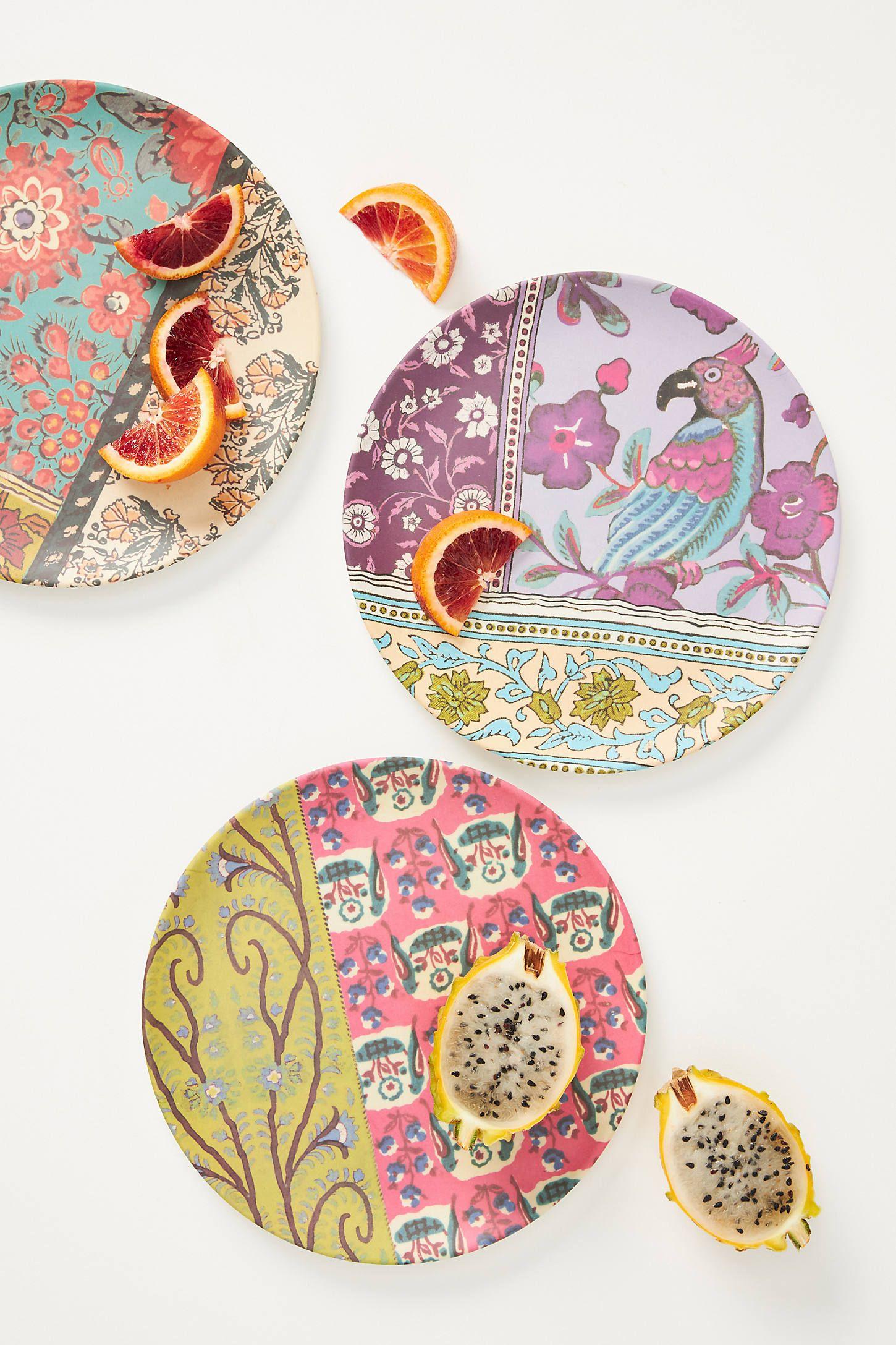Blockprint Bamboo Melamine Dinner Plate In 2020 Melamine Dinner Plates Pottery Painting Designs Dinner Plates