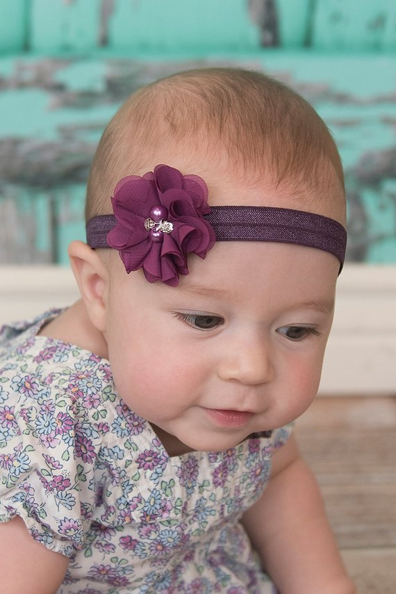 "3 pieces Purple 1.5/"" satin petal flower with pearl center //DIY headband"