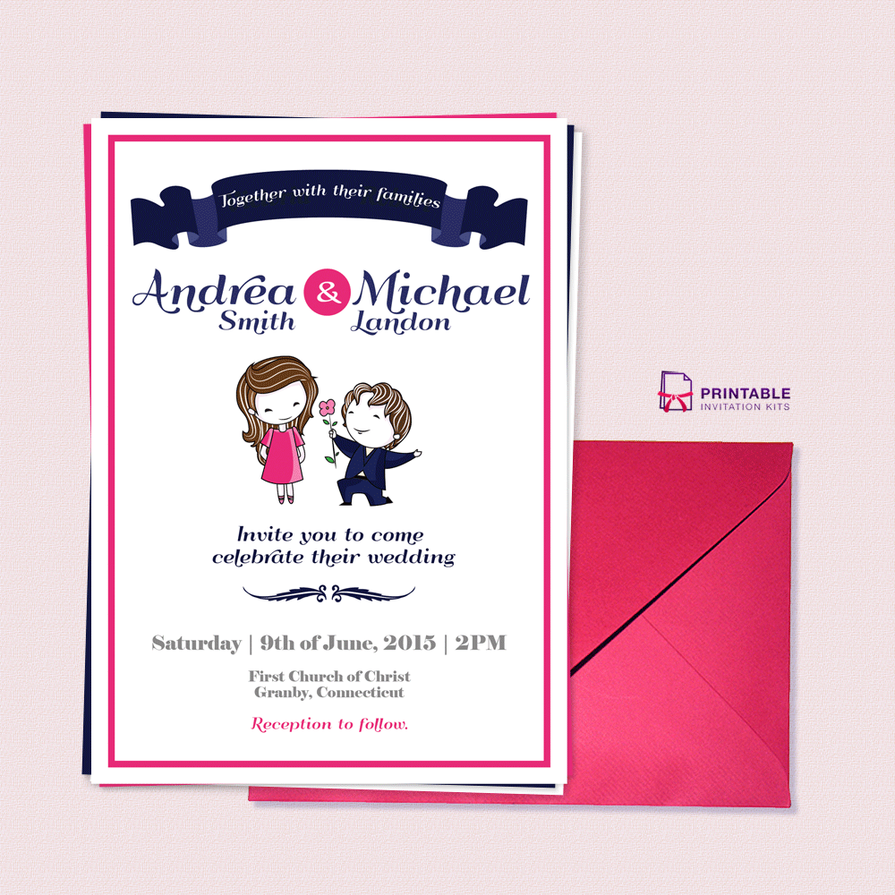 free pdf download cute couple illustration wedding With cute wedding invitations with pictures