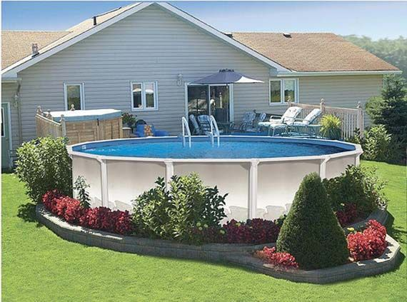 large round pool deck in patio i like the landscaping around the pool - Garden Ideas Around Swimming Pools