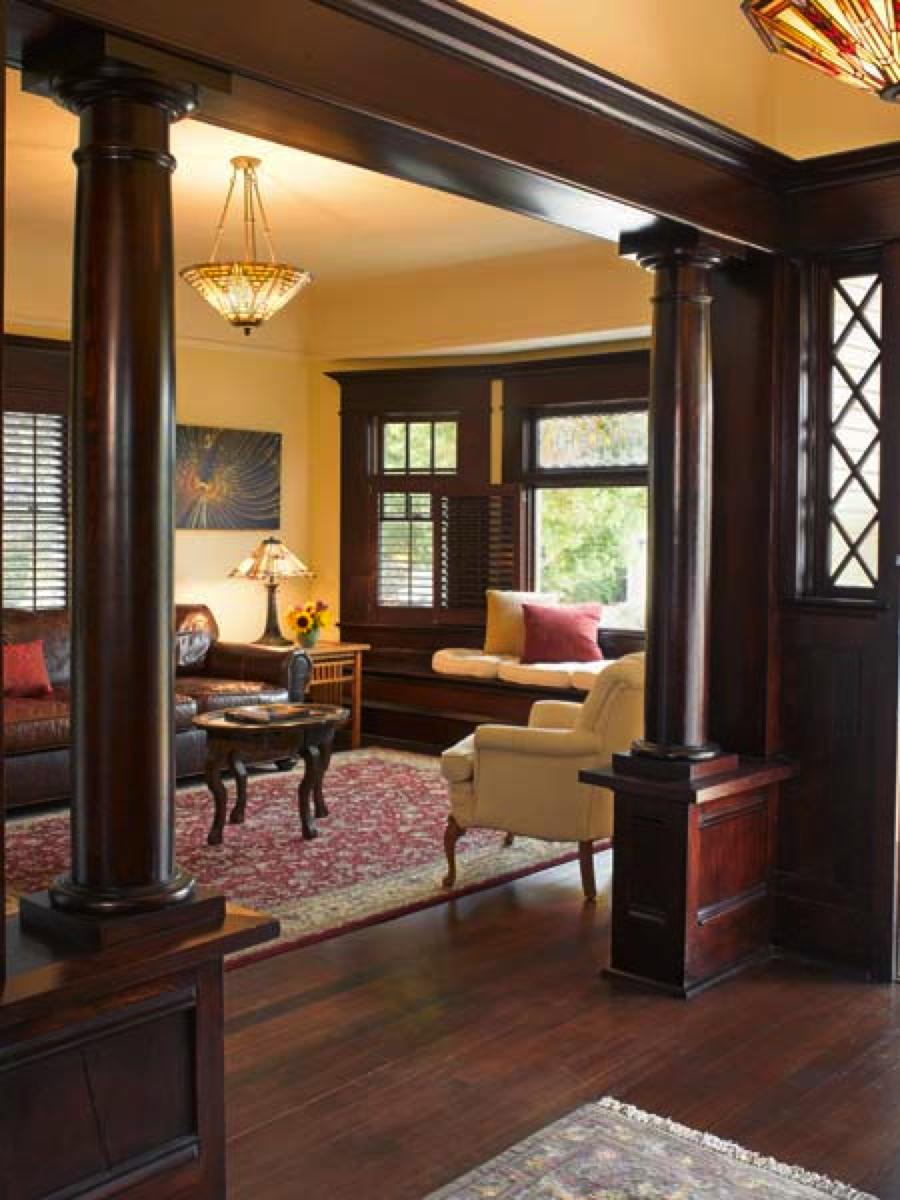 dark wood trim, yellow walls | dark hardwood trim | pinterest