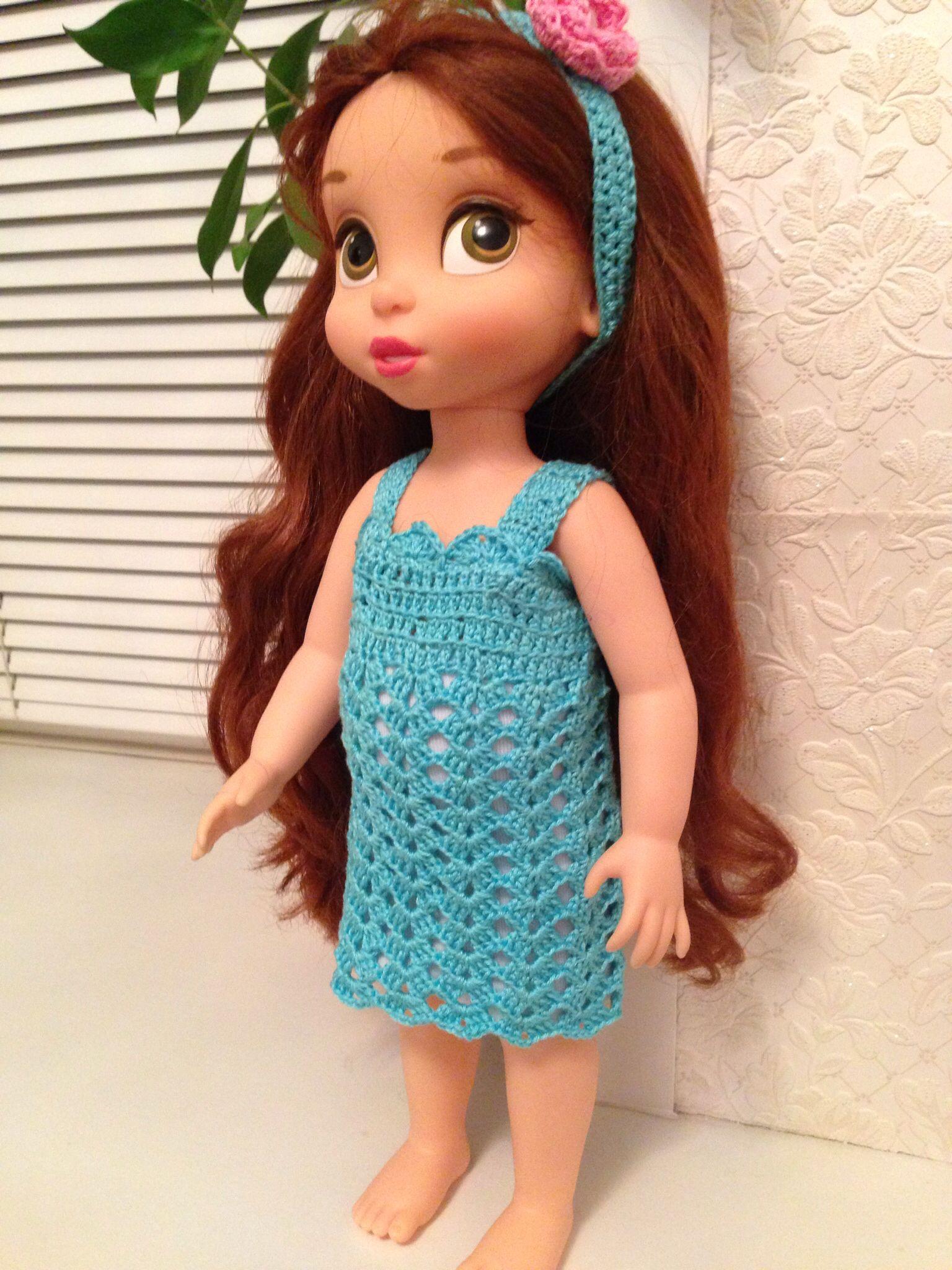 Summer crocheted dress for Disney Animators doll