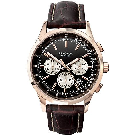 f1f13d15e Buy Sekonda 3413.27 Men's Leather Strap Chronograph Watch, Rose Gold /  Brown Online at johnlewis.com