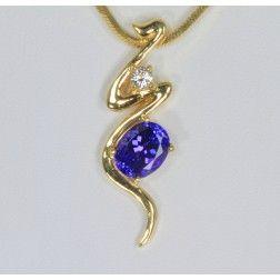 Tanzanite Pendant With a Vivid Color Tanzanite and Diamond
