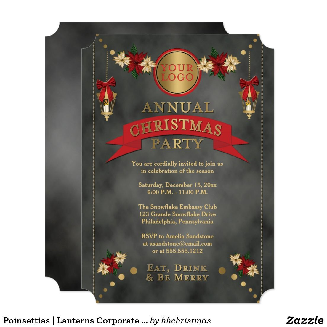 Poinsettias  Lanterns Corporate Christmas Party Card  Christmas