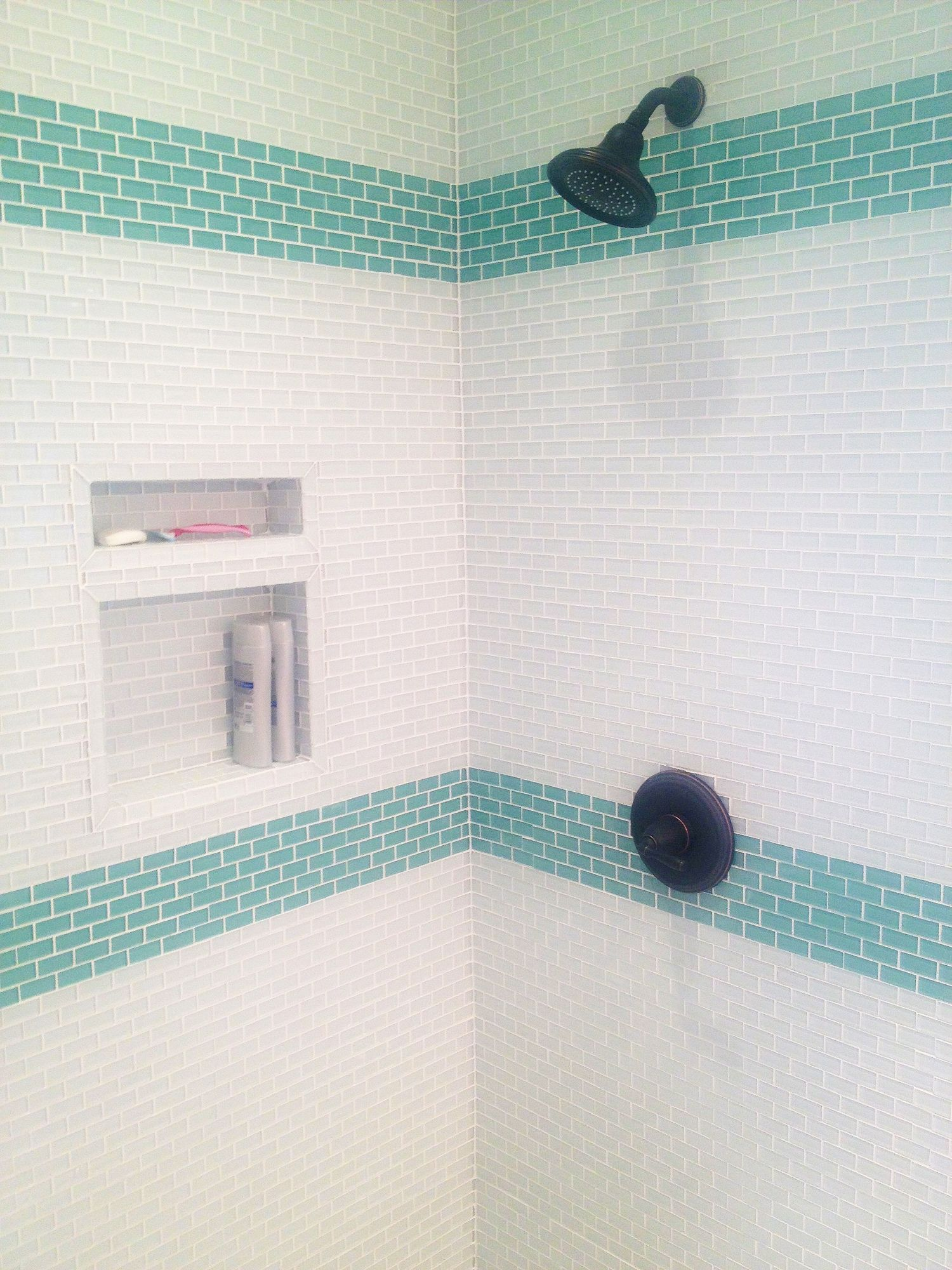 Black and white and turquoise bathroom ideas - Sage Green 1x2 Mini Glass Subway Tile